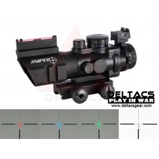 ACOG style 4x32 Red/Green/Blue Illumination Scope with Fiber Optic Tactical Sight and Weaver Slots - Black