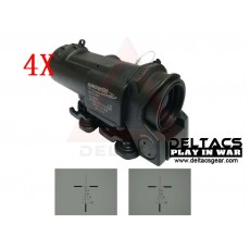 SpecterDR Style 4X Magnifier Red Dot Illuminated Scope - Black