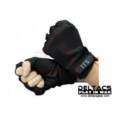 Deltacs Tactical Half Finger Skidproof  Gloves - Black (M-XL)