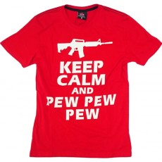 Deltacs Keep Calm and Pew Pew Pew Printed Tee - Red