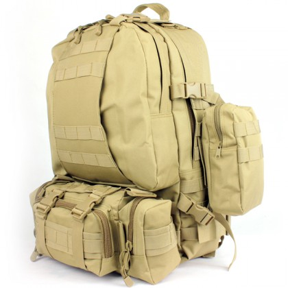 Deltacs 3-Day Assault Tactical Camping Backpack - Tan