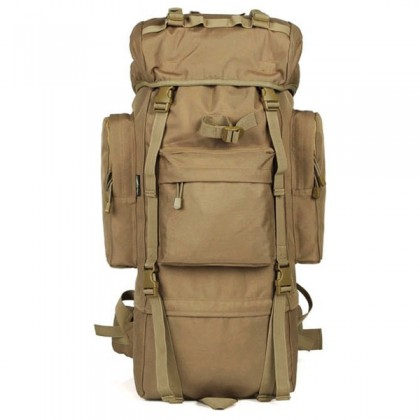 Deltacs 65 Litre Large Camping/Hiking Backpack - Tan