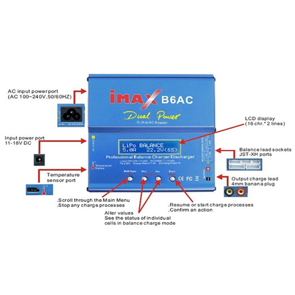 SKYRC T6755 AC DC Touch Screen Balance Charger 349758 together with SkyRC D100 AC DC Dual Balance Charger Discharger For RC Models 349768 additionally Imax B6 Digital Rc Lipo Nimh Battery Balance Charger 2 additionally IMAX B6 Fast Balance Charger Discharger 1 6 Cells With AC Adaptor moreover Eachine D800 7A 80W Dual Input Power ACDC Balance Charger For NiCd NiMH Lithium PB Battery P 1040228. on 20v lipo battery charger circuit