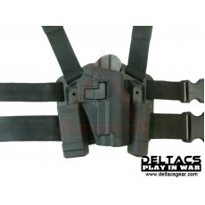 Deltacs CQC Drop leg Tactical Holster w/Magazine & Light Case for P226 - Black