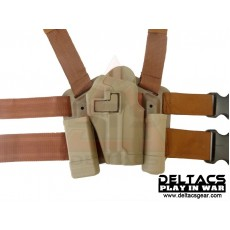 Deltacs CQC Drop leg Tactical Holster w/Magazine & Light Case for P226 - Tan