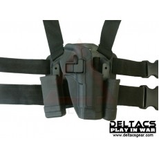 Deltacs CQC Drop leg Tactical Holster w/Magazine & Light Case for M92 - Black