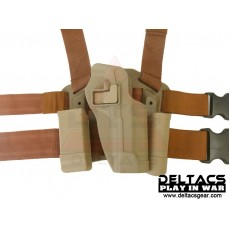 Deltacs CQC Drop leg Tactical Holster w/Magazine & Light Case for M92 - Tan