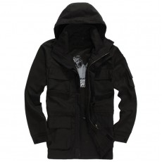 Military Squadron Airborne Hoodie Long Jacket - Black