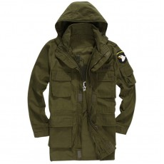 Military Squadron Airborne Hoodie Long Jacket - OD Green