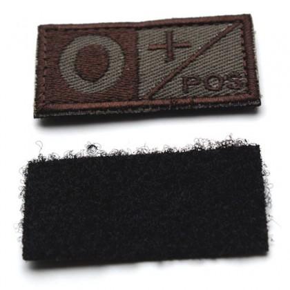 Blood Type O POS Velcro Patch - Tan