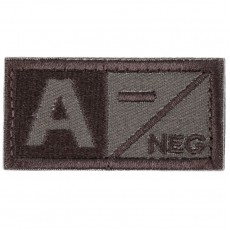 Blood Type A NEG Velcro Patch - Tan