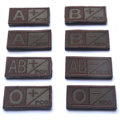 Blood Type A NEG Velcro Patch - Tan