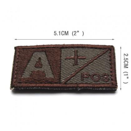 Blood Type AB POS Velcro Patch - Tan