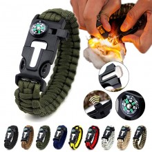 5 in 1 Multifunction Military Emergency Rescue Survival Tool Camping Paracord Bracelet (OD)