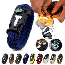 5 in 1 Multifunction Military Emergency Rescue Survival Tool Camping Paracord Bracelet (NB)