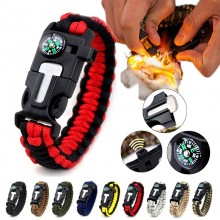 5 in 1 Multifunction Military Emergency Rescue Survival Tool Camping Paracord Bracelet (RD)