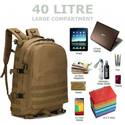 3D Tactical Hiking 40 Litre Backpack(OD)