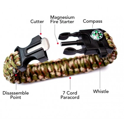5 in 1 Multifunction Emergency Survival Paracord Bracelet