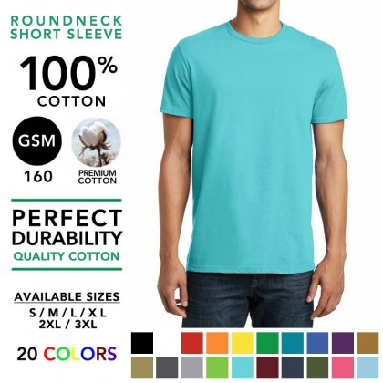 100% Cotton 160GSM Round Neck Basic T-Shirt Plain Tee Tshirt