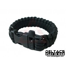"Deltacs 8"" Survival Paracord Bracelet w/QD Buckle - Black"