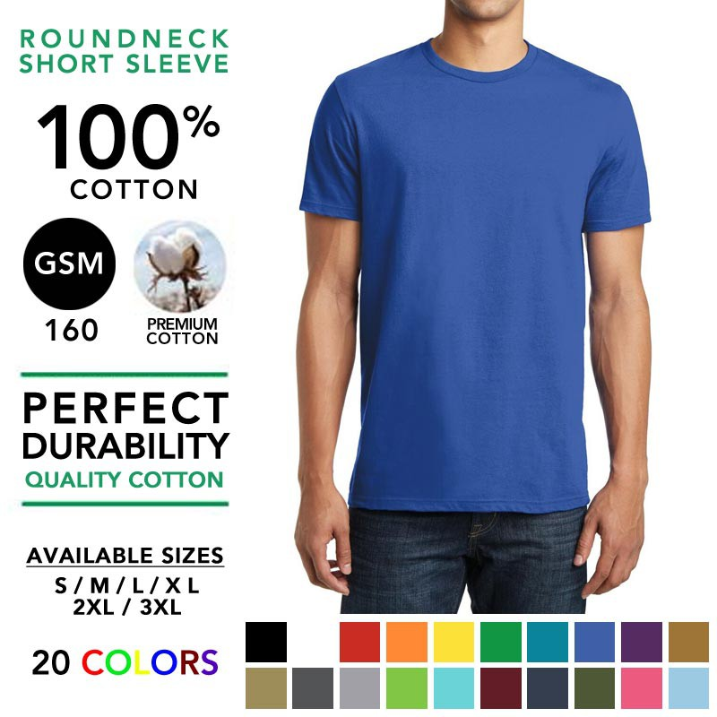 100% Cotton 160GSM Round Neck T-Shirt Plain Tee